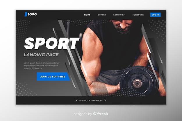 Página de destino do esporte para levantamento de peso