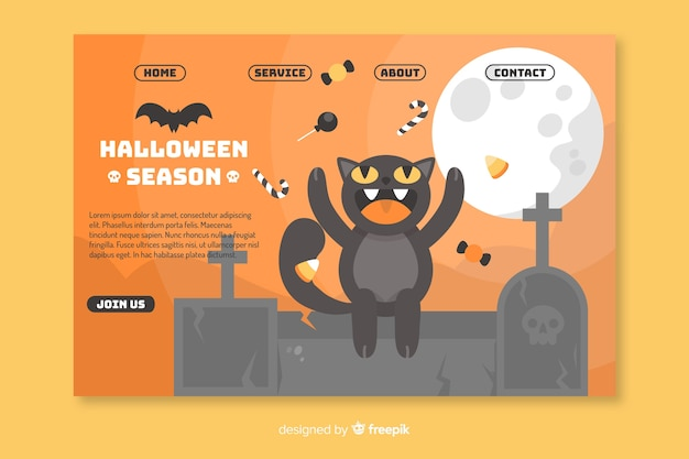 Página de destino do gato halloween plana