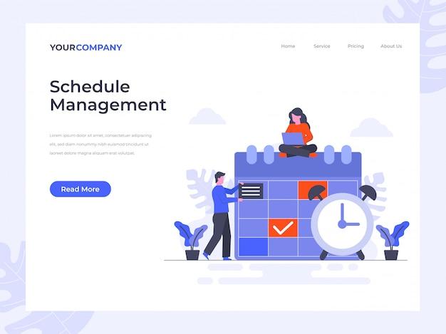 Página de destino do gerenciamento de agendamento