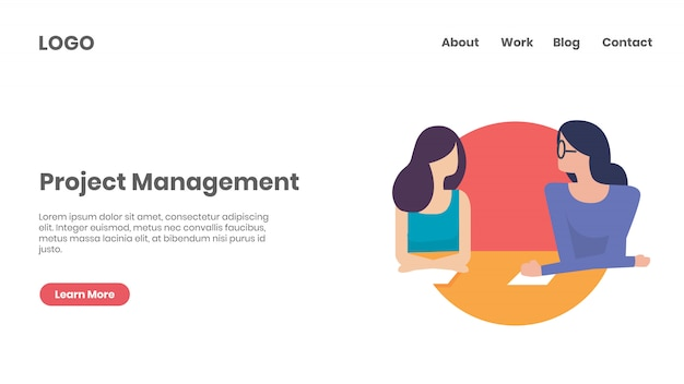 Página de destino do gerenciamento de projetos e planejamento de sprint