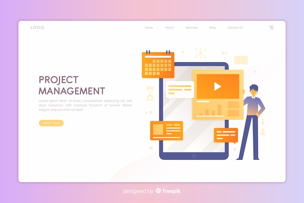 Página de destino do gerenciamento de projetos