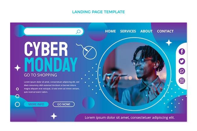 Página de destino do gradiente cibernético segunda-feira