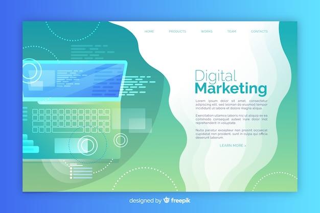 Página de destino do gradiente de marketing digital