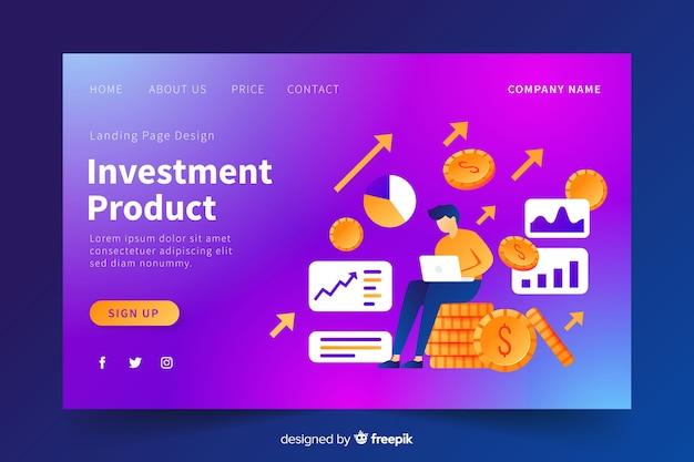 Página de destino do gradiente do produto de investimento