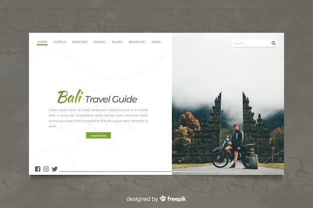 Página de destino do guia de viagem de bali com foto