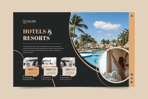 Página de destino do hotel com foto