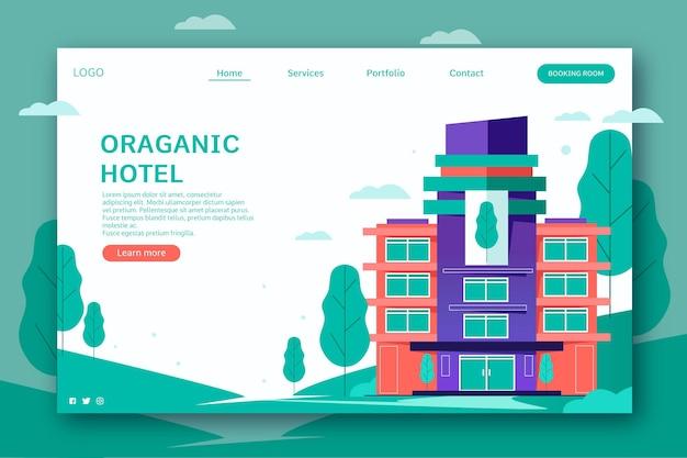 Página de destino do hotel criativo com ilustração
