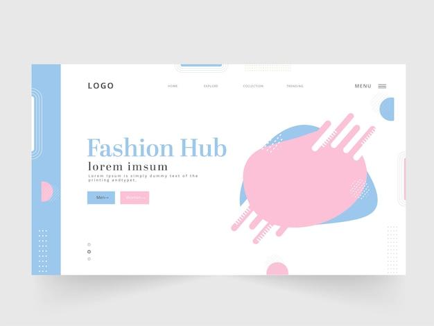 Página de destino do hub de moda ou design de modelo da web para publicidade.