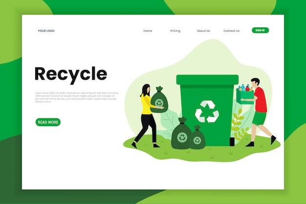 Página de destino do lixo plástico macio reciclado
