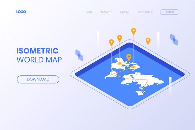 Página de destino do mapa isométrico do mundo