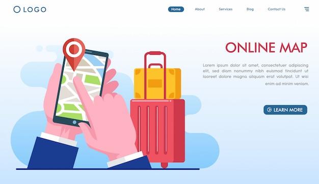 Página de destino do mapa on-line