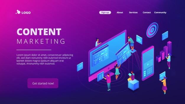 Página de destino do marketing de conteúdo isométrico.