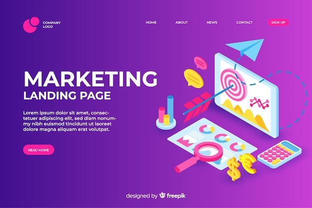Página de destino do marketing de desenho isométrico
