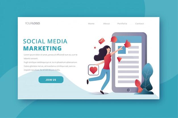 Página de destino do marketing de mídia social