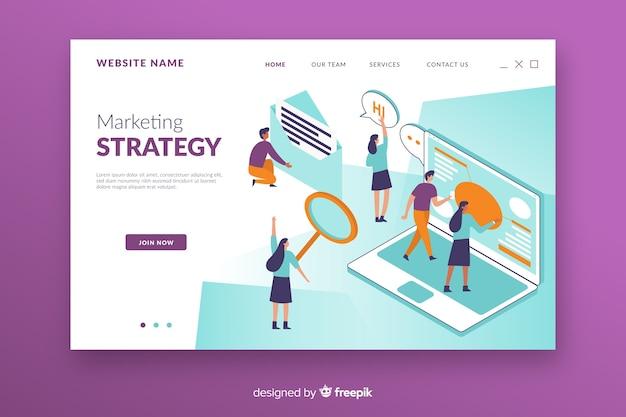 Página de destino do marketing isométrico