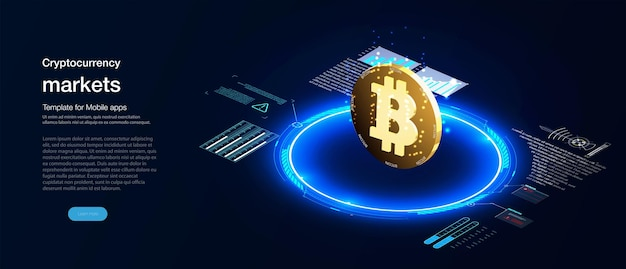 Página de destino do mercado de criptomoeda. holograma de uma moeda bitcoin em um fundo azul futurista moeda digital ou fazenda de mineração de criptomoedas. criação de bitcoins. mineração de criptografia, conceito de blockchain.