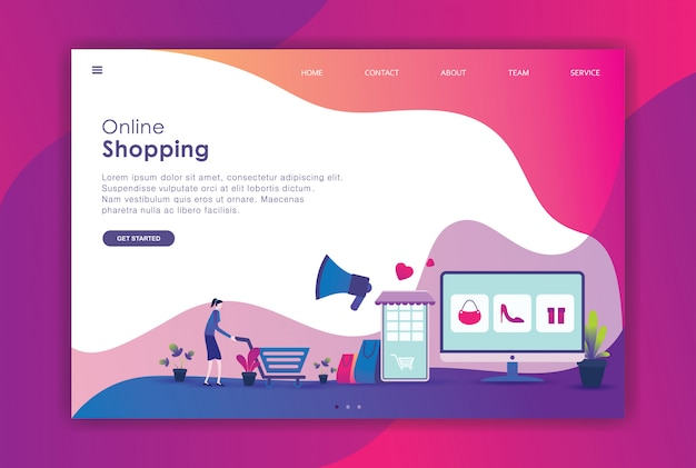 Página de destino do mercado de design plano moderno
