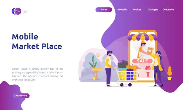 Página de destino do mercado móvel