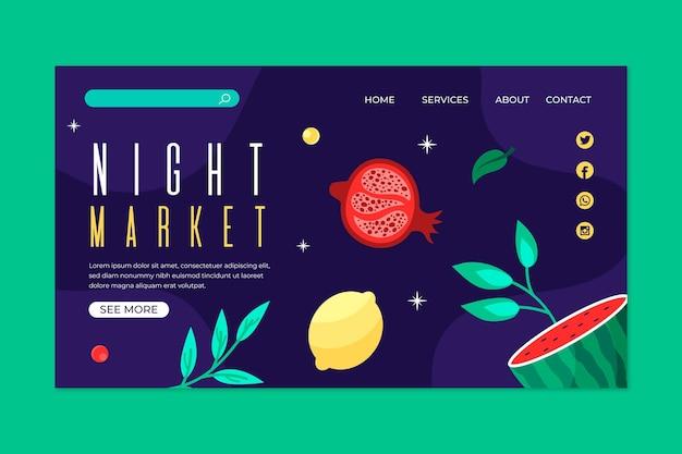 Página de destino do mercado noturno