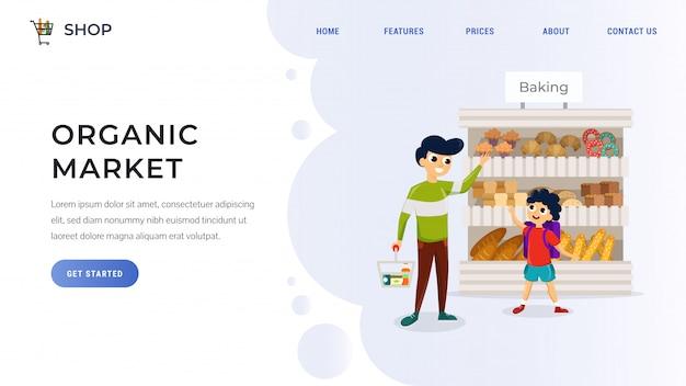 Página de destino do mercado orgânico