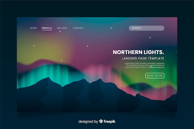 Página de destino do modelo aurora boreal