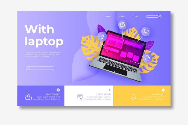 Página de destino do modelo com laptop