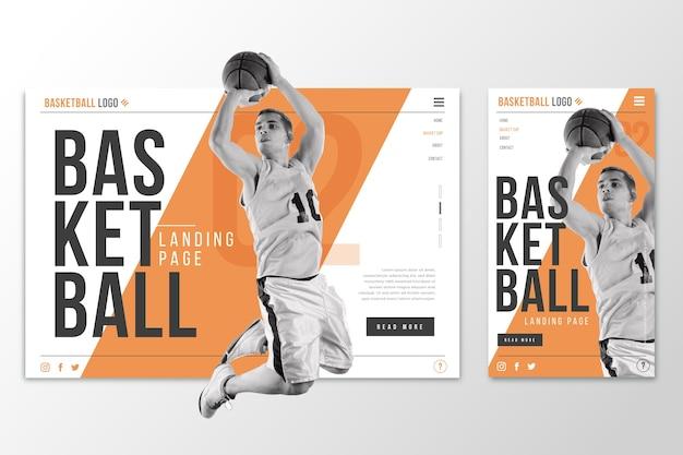 Página de destino do modelo da web para basquete
