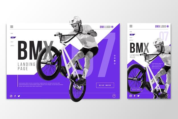 Página de destino do modelo da web para bmx