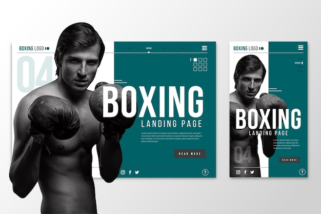 Página de destino do modelo da web para boxe