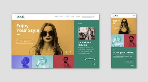 Página de destino do modelo da web para estilos