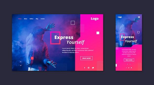 Página de destino do modelo da web para expressão