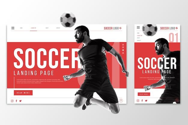 Página de destino do modelo da web para futebol