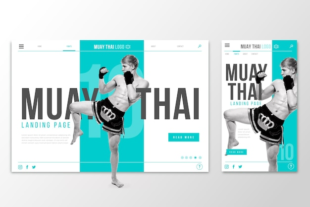 Página de destino do modelo da web para muay thai