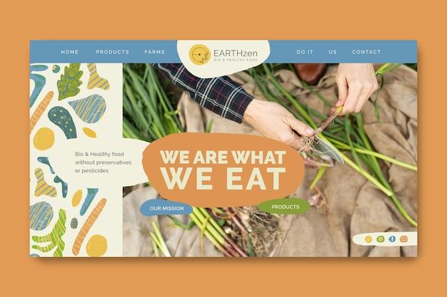 Página de destino do modelo de alimentos bio e saudáveis