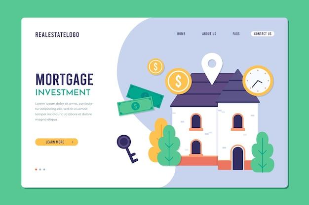 Página de destino do modelo de design plano de hipoteca