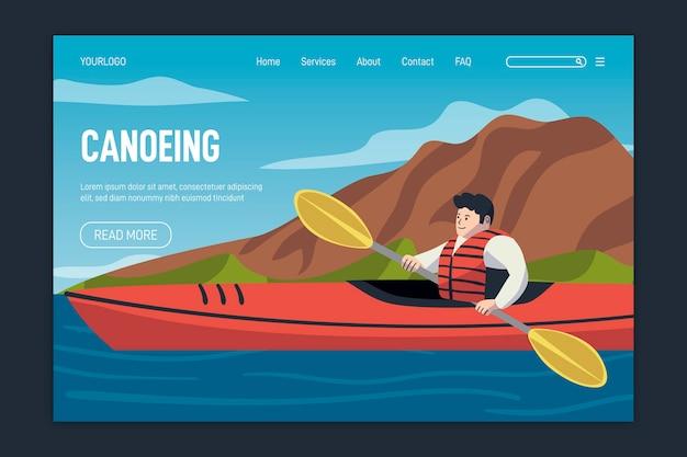 Página de destino do modelo de esporte ao ar livre de design plano