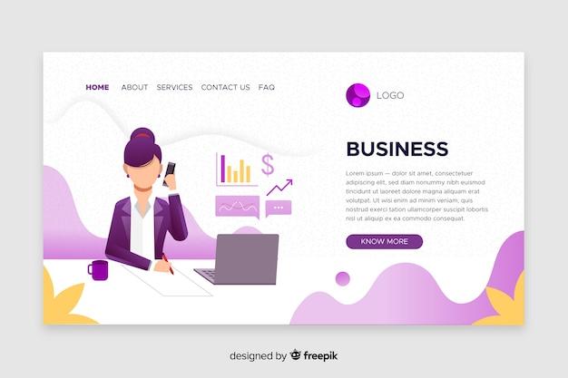 Página de destino do modelo de negócios