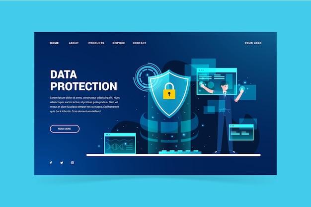 Página de destino do modelo de proteção de dados