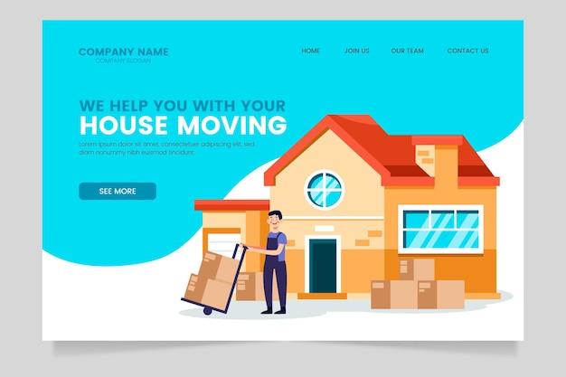 Página de destino do modelo de serviços de mudança de casa