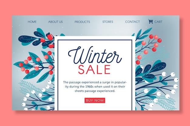 Página de destino do modelo de venda de inverno