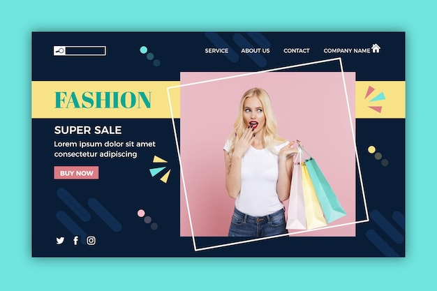 Página de destino do modelo de venda de moda