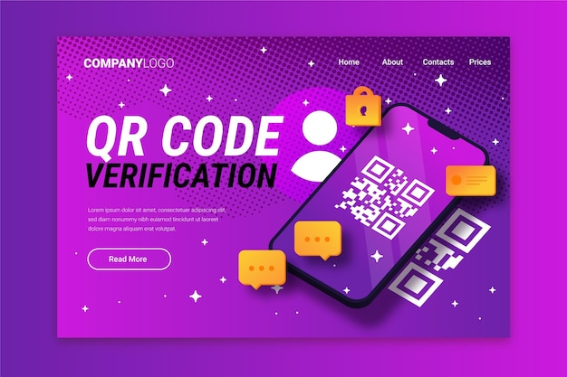 Página de destino do modelo de verificação de código qr