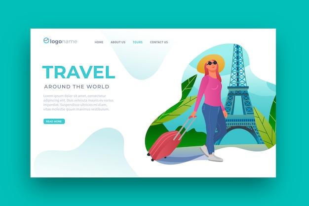 Página de destino do modelo de viagem de design plano