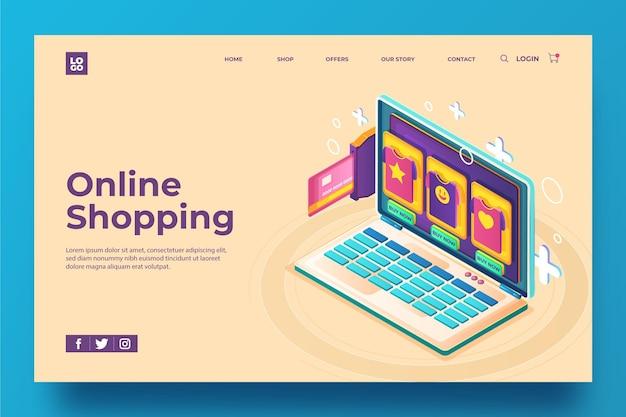 Página de destino do modelo isométrico on-line de compras