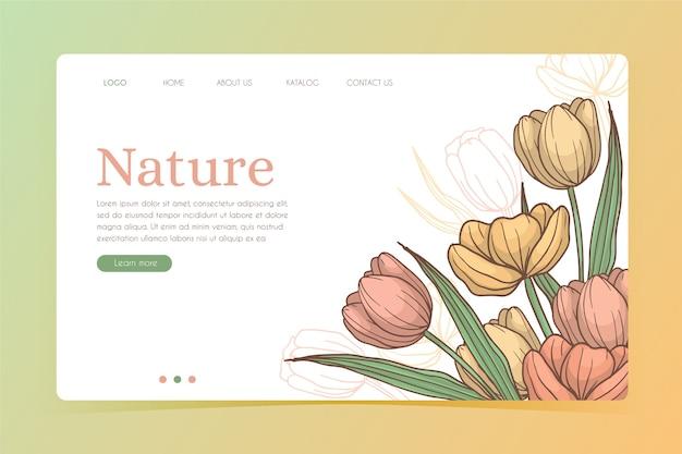 Página de destino do modelo natural desenhada de mão