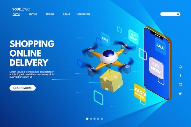 Página de destino do modelo on-line futurista de compras