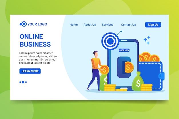 Página de destino do negócio online