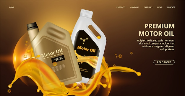 Página de destino do óleo do motor. página da web de óleo de motor. canistre plástico realista, banner de reparo do carro