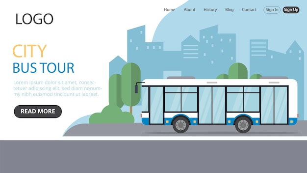 Página de destino do ônibus da cidade seu