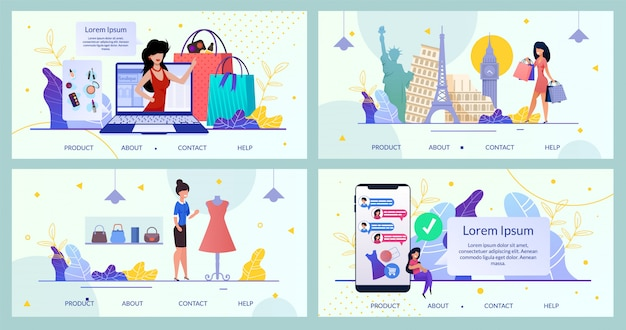 Página de destino do pacote loja on-line de aplicativos para dispositivos móveis